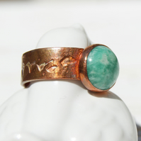 Copper Ring Size P.75 or 8, Green Gemstone Ring, Russian Amazonite Ring