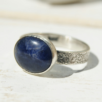 Sodalite Sterling Silver Ring Size O.5 or 7.25, Blue Stone Ring