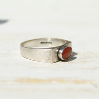Carnelian Pinky Ring Size 6 or M, Sterling Silver Signet Ring