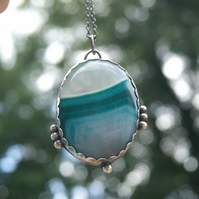 Blue Green Banded Onyx Necklace, Silver and Copper Rustic Pendant