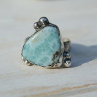 Larimar Sterling Silver Ring Size 7, Blue Stone Rustic Ring