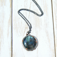 Labradorite Rustic Necklace, Silver And Copper Pendant, Hand Stamped Jewellery