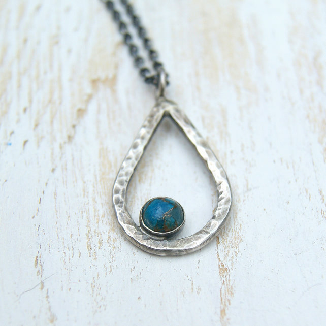 Blue Copper Turquoise Necklace, Silver Hammered Pendant, December Birthstone