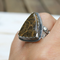 Large Sterling Silver Ring, Fossil Coral Ring, Brown Gemstone Rustic Jewellery