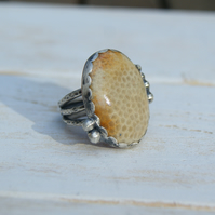 Yellow Fossil Coral Ring, Sterling Silver Ring Size 6.75