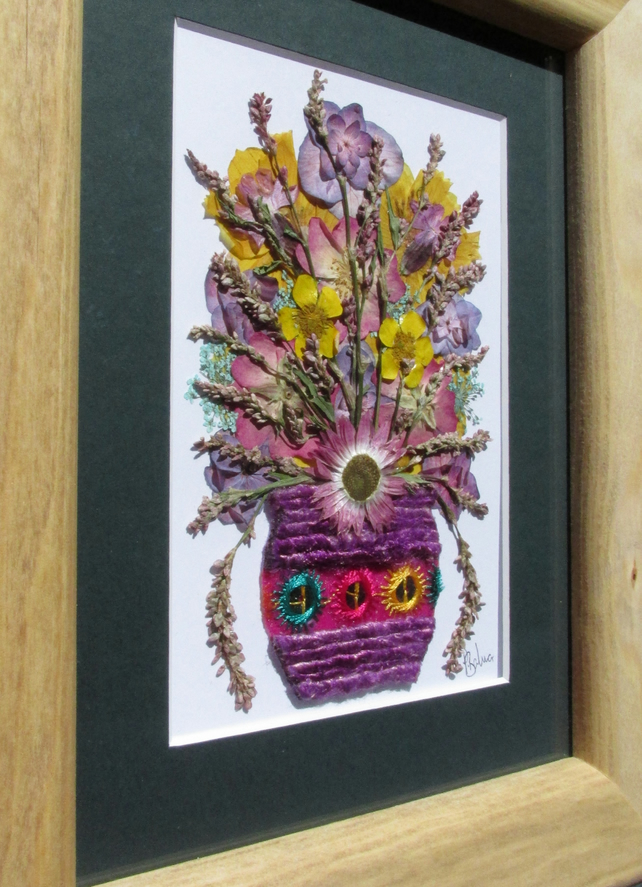 Purple Dazzler- Pressed dried flowers Wall Art