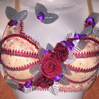 Fancy Carnival Burlesque Bra 36C Red Roses Salmon Purple Silver