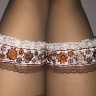 Steampunk Garter garters brown cream lace gear