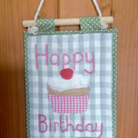 Happy Birthday Cupcake  Mini Quilt Wall Hanging