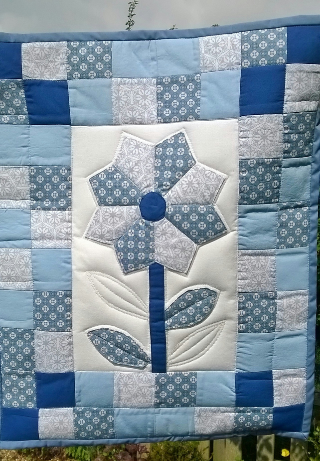 Blue Flower Wall Hanging Quilt