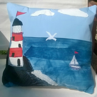 Lighthouse Handmade Appliqued Cushion Cover