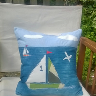 Sailing Along Handmade Appliqued Cushion Cover