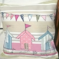Beach Huts Handmade Appliqued Cushion Cover
