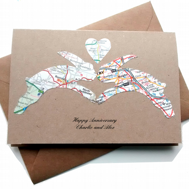 Hare Card for Anniversary. Wedding, Gay wedding. Custom, handcut recycled map.