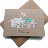 Elephant Card for Anniversary, Wedding Gay Wedding. Custom, handcut recycled map