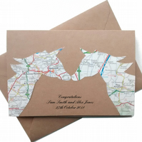 Unicorn Card - Gay Wedding, Engagment, Anniversary. Custom handcut recycled map