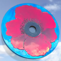 Poppy Suncatcher Window Hanging. Handmade from Recycled CD. Eco friendly gift