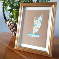 Norfolk Wherry boat picture. Hand cut from old map. Eco Friendly gift
