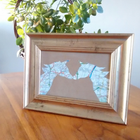 Custom wedding, anniversary, engagment picture. Recycled map. Eco Friendly gift