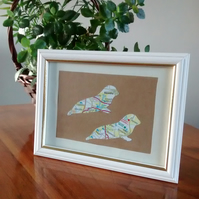 Seals picture. Hand cut from old map. Eco Friendly gift