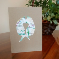 Cat Card for Valentine, Anniversary, (Gay) Wedding. Custom handcut recycled map
