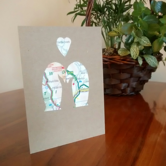 Penguin Card: Engagement, Anniversary (Gay) Wedding. Custom handcut recycled map