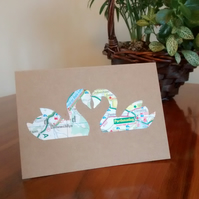 Swan Card for Engagement, Anniversary (Gay) Wedding. Custom handcut recycled map