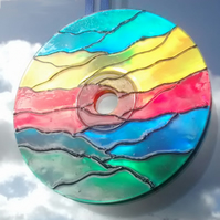 Abstract Suncatcher Window Hanging. Handmade from Recycled CD. Eco friendly gift