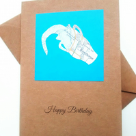 Personalised Zodiac card. Handcut, custom, starsign symbol from out of date map.