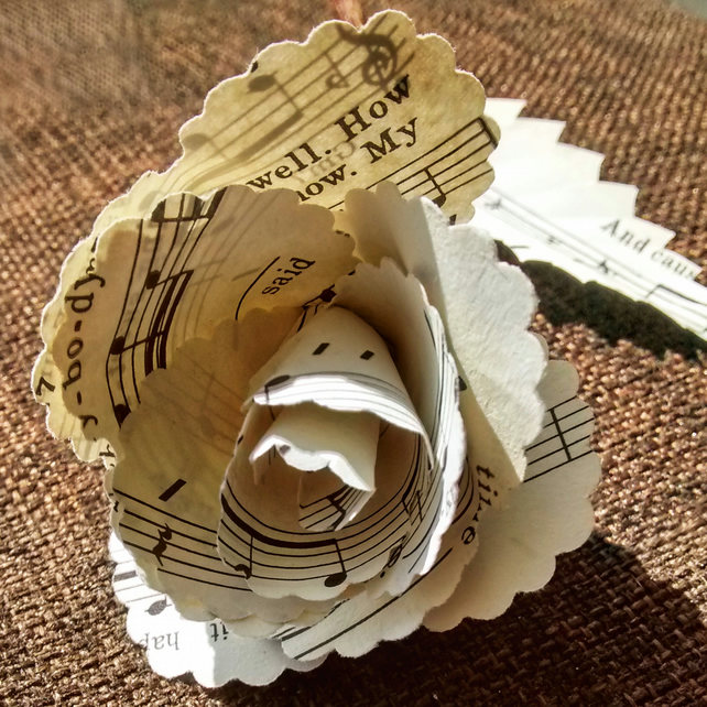 Rose made from old sheet music. Recycled Wedding, 1st wedding Anniversary Gift