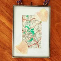 Personalised framed map with heart detail. Recycled wedding, anniversary gift