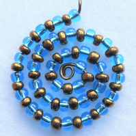 Blue and Bronze Spiral Beaded Pendant
