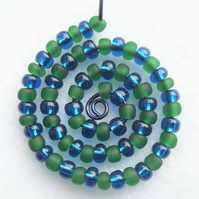 Dark Green and Dark Blue Spiral Beaded Pendant