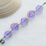 Long Violet, Amethyst and Silver Wavy Bead Pendant