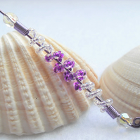 Long Purple and Crystal AB Beaded Pendant