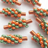Orange and Green Spiral Beaded Beads