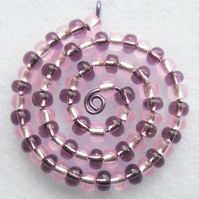 Pink and Purple Spiral Beaded Pendant