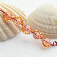 Long Coral, Gold and Orange Wavy Bead Pendant