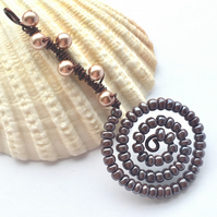 Shades of Brown Spiral Bead and Pearl Pendant