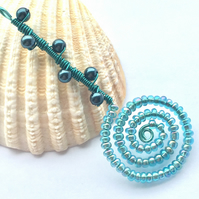 Shades of Blue Spiral Bead and Pearl Pendant
