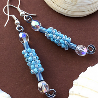 Sparkly Light Blue Beaded Earrings