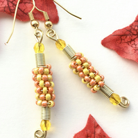 Yellow and Light Orange Beaded Earrings