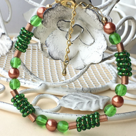 Bright Green and Copper Beaded Bracelet