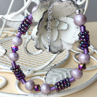 Dusty Pink and Purple Iris Beaded Bracelet