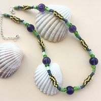 Purple, Green and Yellow Beaded Necklace