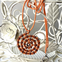 Orange and Brown Spiral Beaded Pendant Necklace
