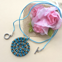 Blue and Bronze Spiral Beaded Pendant Necklace