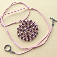Pink and Purple Spiral Beaded Pendant Necklace
