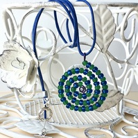 Dark Green and Dark Blue Spiral Beaded Pendant Necklace