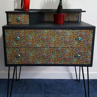 Upcycled Mid Century Modern Console Table Hairpin Legs Matt Black 'Sputnik'